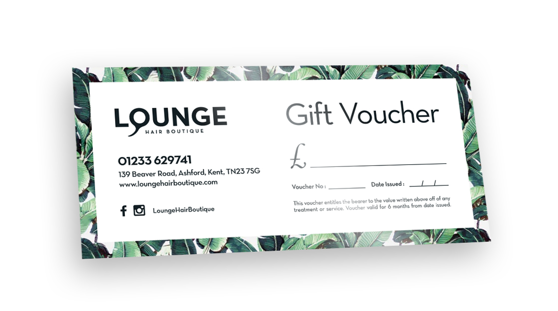 Gift Vouchers now available at Lounge Hair Boutique - Unisex hairdressers in Ashford, Kent